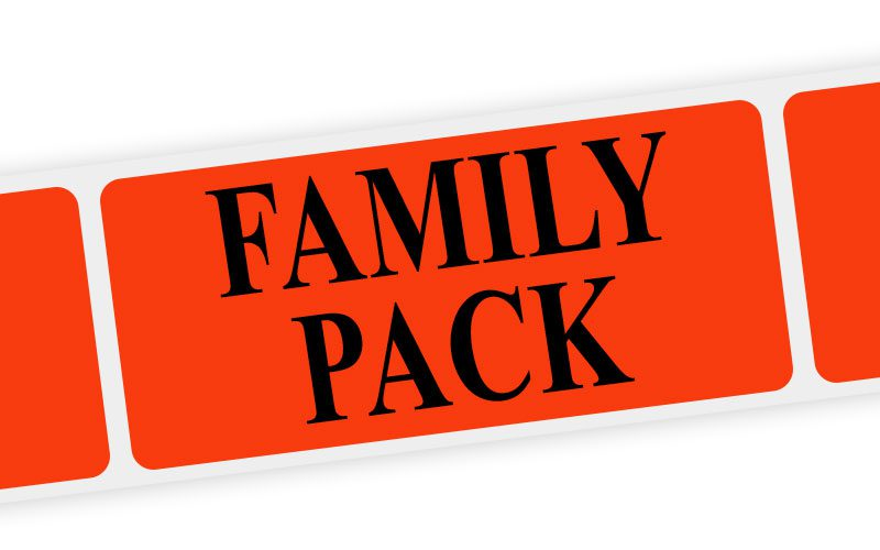 family pack label