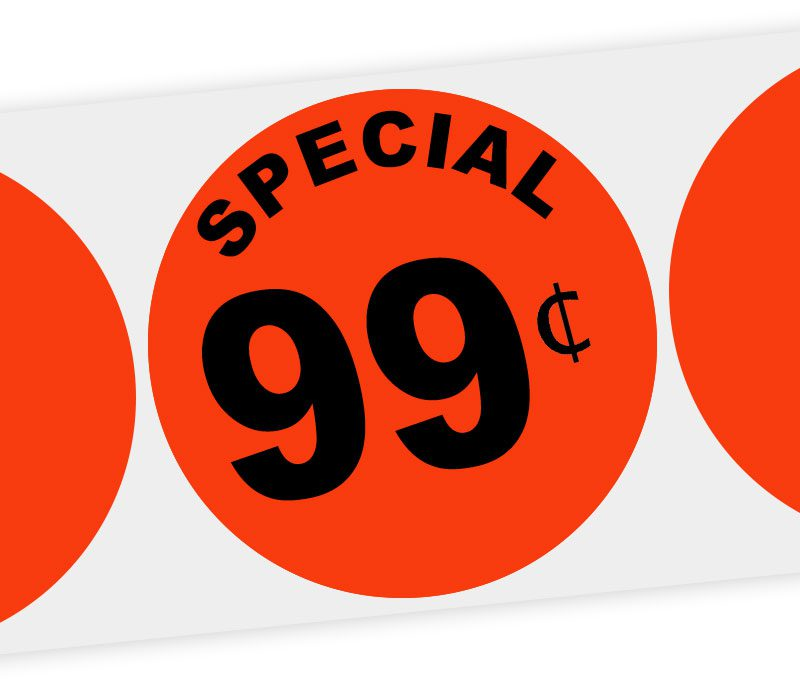 special 99 cents round label