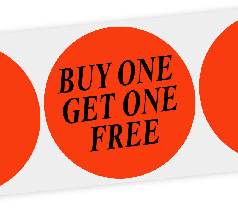 buy one get one free round label
