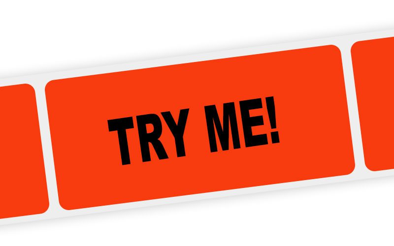try me! label